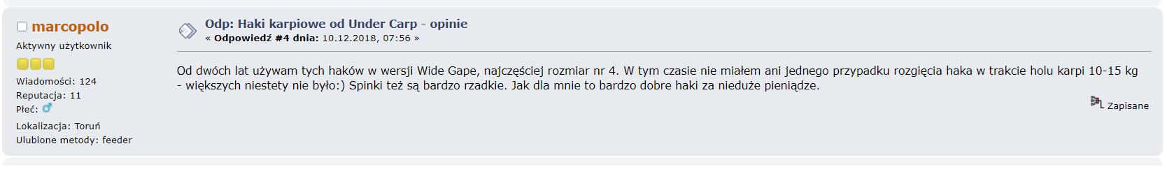 haki karpiowe undercarp opinia z forum wędkarskiego